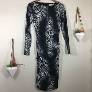 Philosophy black and gray cheetah bodycon dress